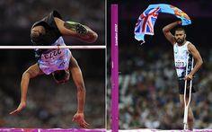 Success: Fiji's Iliesa Delana celebrates after winning the men's F42 high jump  Picture: AFP