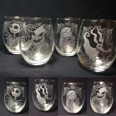 Nightmare Before Christmas Stemless Wine Glass by Kitty Piston
