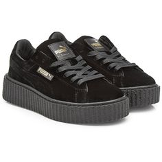FENTYxPuma by Rihanna Velvet Creepers ($180) ❤ liked on Polyvore featuring shoes, black, velvet platform shoes, punk rock shoes, platform shoes, black creeper shoes and kohl shoes