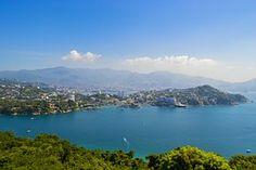 Acapulco, Playa, Azul, Puesta Del Sol