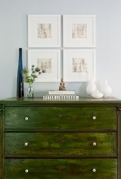 Love using dressers as furniture in a room beside the bedroom.