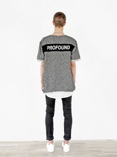 Profound Aesthetic Granite Raw Cut Pullover Sweatshirt Tee in Tri-Blend Gray. Spring Summer 2016 Flight Through the Gardens Collection. http://profoundco.com