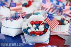 of July treats . also like the DIY paper snack bowls 4th Of July Celebration, 4th Of July Party, Fourth Of July, Diy Snacks, Cute Snacks, Paper Bowls, Paper Plates, Summer Crafts, July Crafts