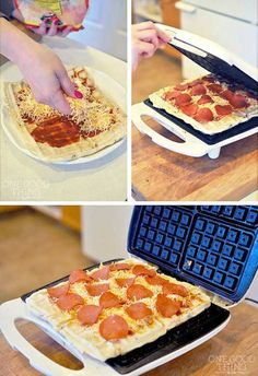 I have never thought of cooking a Pizza in the waffle iron. Bake the pizza dough in iron first, and then add your toppings until they get hot and melty.