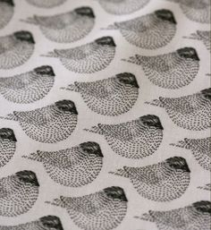 Woodgrain Sparrows Fabric - by LilaRubyKingShop #pattern #birds #illustration