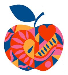 Apple Heart limited edition signed giclee print by AliceStevo Apple Illustration, Pattern Illustration, Graphic Design Illustration, Graphic Art, Apple Art, Arte Pop, Food Illustrations, Heart Art, Pop Art
