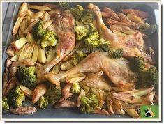 Cuisses+de+poulet,+pommes+de+terre,+ail+et+romarin+et+une+touche+de+vert,+le+brocoli