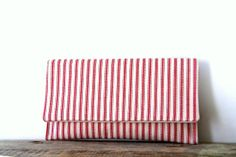 clutch purse in red and cream ticking by SassyStitchesbyLori, $28.00