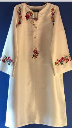 Beautiful Pakistani Dresses, Pakistani Dresses Casual, Pakistani Dress Design, Dress Neck Designs, Stylish Dress Designs, Designs For Dresses, Kurti Embroidery Design, Embroidery Fashion, Pakistani Fashion Party Wear