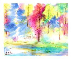 "MARLOW MAR – ""The Breeze"" Mixed Media on Silk, 24″ x 24″"