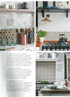 Country Homes & Interiors - October 2015. A feature on kitchen splashbacks includes our glass iridescent hexagon mosaics, Genau and Voni.