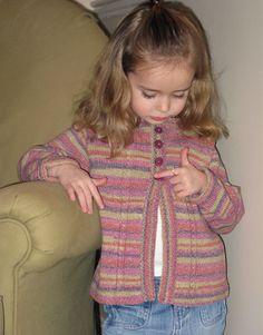Stripey Toddler Cardigan, free pattern. 2 to 8 years.