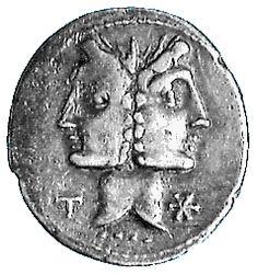 Janus, le dieu aux deux visages, avec un symbole chrestos (réutilisé par Eusèbe de Césarée). A la fête des Agonalias le 9 Janvier , le prêtre sacrorum rex sacrifie un agneau en l' honneur de Janus. Les solstices d'hiver et d' été se consacrent également à Janus.Les deux partie se tournent vers les deux «portes» de l'année. Le Dieu du passage consacre le solstice d'été Ianua Inferni, Porte de l' Enfer ; et le solstice d'hiver, Ianua Coeli, Porte du Ciel et des dieux.