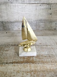 Trophy Vintage Sailing Trophy Gold Trophy Boat Trophy with Marble Base Boat  Racing Not Engraved Nautical 2393e42607f5