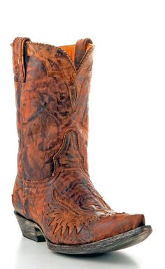 Mens Old Gringo Eagle Inlay Boots Rust #M535-1
