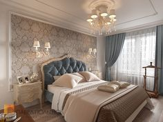 49 new ideas wallpaper bedroom blue beds Luxury Bedroom Design, Home Room Design, Master Bedroom Design, Bed Design, Home Bedroom, Bedroom Decor, Interior Design, Bedroom Lighting, Bedroom Furniture