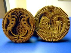 Antique 2 Hand Carved Wood Butter Cookie Stamps Pineapple and Eagle     Sold  Ebay   2860.00