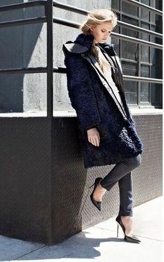 HELMUT LANG Fontana Dark Blue Rabbit Fur Lamb Leather Hood Coat Jacket Parka M 4 #HELMUTLANG #BasicCoat