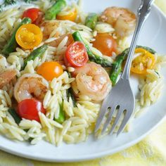 Lemon-Mustard Orzo Salad with Shrimp and Asparagus - this spring salad is filling, but light. Perfect for a potluck or simple dinner!