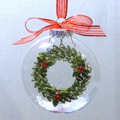 Quilled Wreath Inside Glass Ornament Pattern.