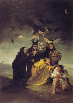"""The Spell"" (1797-1798) by Spanish painter and engraver Francisco José de Goya y Lucientes. Oil on canvas. Madrid, Museum of Làzaro Galdiano."