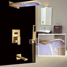 187.27$  Watch now - http://alig65.worldwells.pw/go.php?t=32544091026 - Classic Wall Mount Golden Shower Faucet LED Light Waterfall & Rainfall Showerhead Tub Shower Mixer Taps
