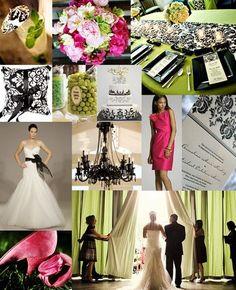pink, green & black inspiration #wedding #weddingideas #pink #green #black #damask