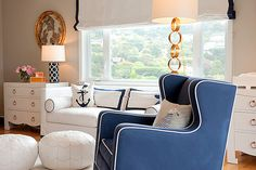 navy arm chair and l...