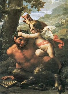 Francesco Mancini - Eros and Pan. Paintings I Love, Greek Gods, Chiaroscuro, Green Man, Old Master, Greek Mythology, Pictures To Paint, Nymph, Deities