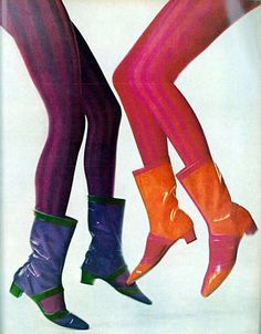 Retro Fashion Legs by Richard Avedon, Vogue, February 1967 will color boots orange pink purple green tights late vintage fashion - 1960s Mod Fashion, Sixties Fashion, Retro Fashion, Trendy Fashion, Vintage Fashion, Gothic Fashion, Womens Fashion, Vintage Outfits, Vintage Shoes