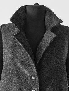 Стильное серое пальто (весна 2015) - тёмно-серый,пальто женское,пальто демисезонное