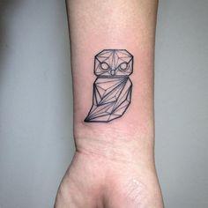 #geometric #owl #tattoo by Fin (@fintattoos)  (at Pink Tattoos)