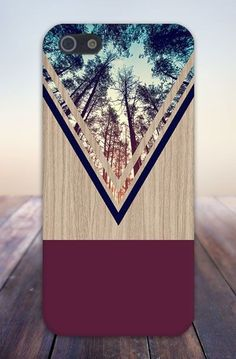 Lovely Clusters - Beautiful Shops: Violet Forest Navy Chevron Wood Design Case for Phone