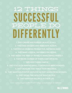 Infographic: 12 Things Successful People Do Differently