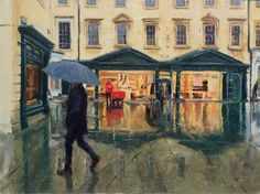 This is a painting of Bath, on a rainy working day, people going about their business, postman delivering the letters. My Arts, Bath, Landscape, Artwork, Painting, Bathing, Work Of Art, Paintings, Downstairs Bathroom