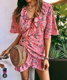 Pretty pink floral ruffled dress.