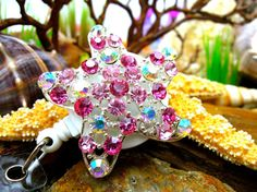 Silver Pink Starfish Badge Reel  by BadgeAlleybyGerAnne on Etsy