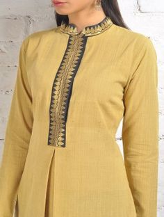 Buy Yellow Malkha Kurta With Black Zari Placket And Box Online Salwar Neck Designs, Churidar Designs, Kurta Neck Design, Neck Designs For Suits, Neckline Designs, Kurta Designs Women, Dress Neck Designs, Blouse Designs, Salwar Pattern