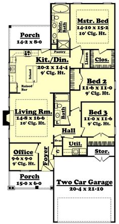 Narrow Lot House Plan 2080 sq ft 3 bedrooms and 25 bathrooms