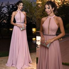Sexy Halter Long Pink Prom Dresses 2018 New Arrival Hollow Out A Line Chiffon Evening Dresses Cheap Red Carpet Formal Party Gowns Backless Prom Dresses, Plus Size Prom Dresses, A Line Prom Dresses, Cheap Dresses, Bridesmaid Dresses, Pink Evening Dress, Chiffon Evening Dresses, Chiffon Dress, Evening Gowns