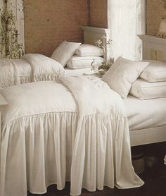 A romantic ensemble with a classic design, the Bianca bedding collection by Legacy Home Bedding brings traditional elegance to your bedroom decor for a look of timeless beauty. The Legacy Home Bianca bedding collection features a beautifully draping desig Pretty Bedroom, White Bedroom, Master Bedroom, Bedroom Decor, White Bedding, Ruffle Bedding, Bedroom Ideas, Cream Bedding, Girl Bedding