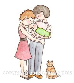 Moms (A High Quality Giclee Print) - Celebrating Gay and Lesbian parents and their families..