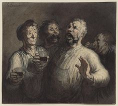 drakontomalloi:  Honoré Daumier - The Drinkers. 1860