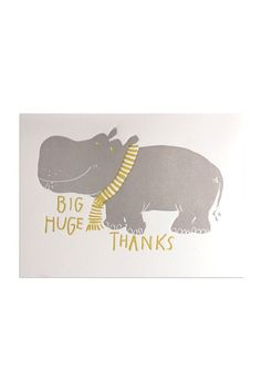 Cutest thank you card ever? New Egg Press Greeting Cards - Big Huge Hippo Thanks - NoteMaker Stationery