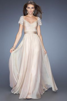 2014 Long Prom Dress Ruched Knotted Bodice Short Sleeves With Rows Of Rhinestones And Pearls