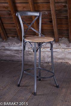 Chaise haute bistrot bois metal de B.A.R.A.K.'7, Tous nos meubles industriels : Barak7