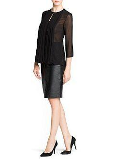 MANGO - CLOTHING - Tops - Pleated detail chiffon blouse