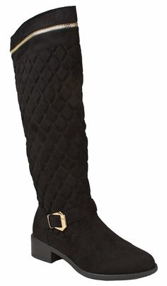 Women Greta40 Black Faux Suede Gold Decor Zip Buckle Strap Quilted Slanted Riding Knee High Boots-10 -- Click image to review more details.