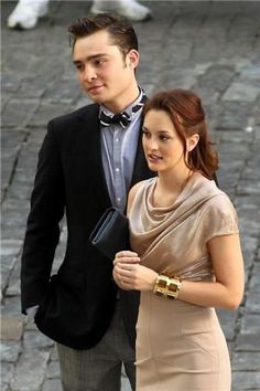 Leighton Meester and Ed Westwick Mode Gossip Girl, Estilo Gossip Girl, Gossip Girl Outfits, Gossip Girl Fashion, Ed Westwick, Leighton Meester, Blair Waldorf Style, Blair Waldorf Hair, Beaux Couples