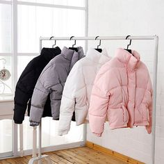 Pink Coats & Jackets for Women Look Fashion, Winter Fashion, Womens Fashion, Street Looks, Street Style, Jackets For Women, Clothes For Women, Grey Clothes, Padded Jacket